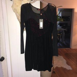 Nasty gal heart velvet sequin dress